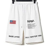 Heron Preston x NASA Embroidered Flag Astronaut Shorts Casual Pants Cropped Pants