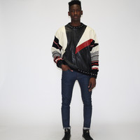 1990s Coogi Style Cosby Hip Hop leather Sweater – Vanguard Vintage Clothing
