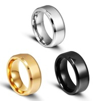 8mm Stainless Steel Contracted Fashion Men's Wedding Promise Ring Band Size 7-11