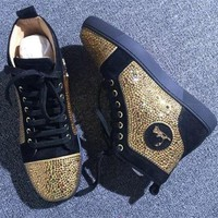 DCCK Cl Christian Louboutin Rhinestone Style #1963 Sneakers Fashion Shoes