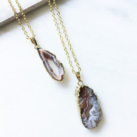 Natural Stone Sliced Agate Necklace
