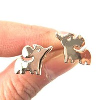 Simple Elephant Shaped Stud Earrings in Rose Gold | DOTOLY