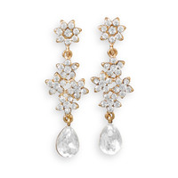 Gold Tone Floral Design Crystal Fashion Drop Earrings