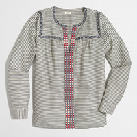 Factory printed embroidered peasant top : Blouses & Tees | J.Crew Factory