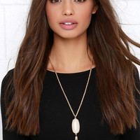 A Bit Embellished Gold and Cream Necklace