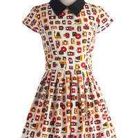 ModCloth Vintage Inspired Mid-length Short Sleeves Fit & Flare Poise and Click Dress