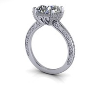 Vintage Style Diamond Engagement Ring Setting - Russian Brilliants Cushion Cut 14 kt Gold Ring