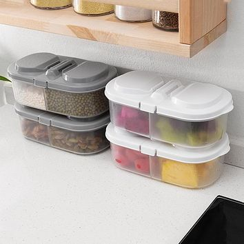 Plain Color Double Compartment Buckle Sealed Tank Storage Tank Kitchen Refrigerator Storage Box Storage Box Food Storage Storage Box