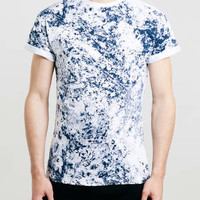 NAVY WASHED HIGH ROLL T-SHIRT