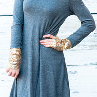 DIPPED IN GLITTER TUNIC IN CHARCOAL