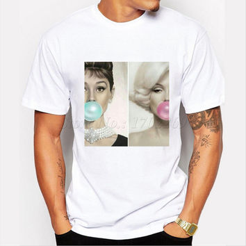 New Fashion Men's Popular Design Marilyn Monroe Chewing Printed T-shirt Short Sleeve Casual Customized Tee Hipster Funny Tops
