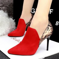 Fashion Wedding Shoes Pumps Women Patchwork Snake Skin Pointed Toe High Heels Shoes Zapatos Mujer Chaussure Femme Red Black Grey
