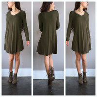 A Lola VNeck Dress in Olive