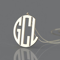Personalized letter golden monogram necklace jewelry--3 initial name pendant necklace for anniversary