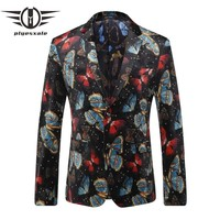 New Arrival Men Blazers Print Blazer For Men Butterfly Pattern Suit Wedding Blazers