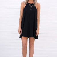 Ribbed Tank Dress - Black