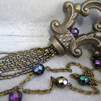 Antique Hardware Jewelry - Tassel Necklace - Purple - Teal - Brass - Long Statement Necklace