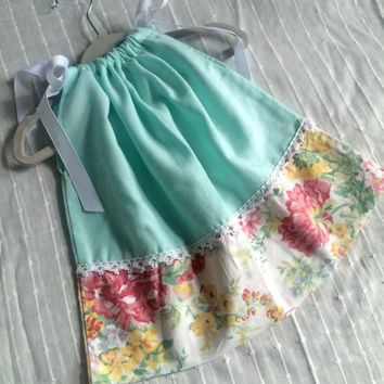 6 to 9 months Baby Girl Pillowcase Style Dress Vintage Mint and Floral with Lace detail Flower Girl Dress Easter Baby Special Occasion Dress