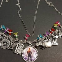 Once upon a time themed stainless steel charm necklace