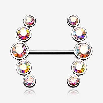 A Pair of Sparkle Ray Multi-Gem Nipple Ring