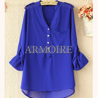 Solid Color Metal Button Long Sleeve Chiffon Blouse