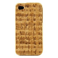 Boho Tronics Apple iPhone 4 4S 4G Genuine Bamboo Case Engraved Mozart Sheet Music Notes Song Cover Hard Natural Smooth Wood Skin