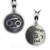 Cancer Zodiac Sign Pendant Astrology Horoscope Pewter jewelry necklace