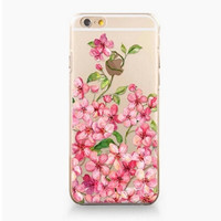 Pink Floral Transparent Iphone 6 plus 6s Case Cover