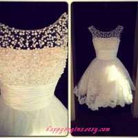 Backless white short lace reception dress/ cocktail dress/ evening dress with pearls 2014