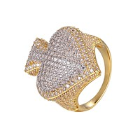 Mens Ace Of Spade Poker Two Tone Gold Tone Hip Hop Icy Ring