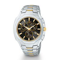 Men's Citizen Eco-Drive™ Two-Tone Chronograph Watch with Black Dial (Model: AT0884-59E) - Peoples Jewellers Men's Citizen Eco-Drive™ Two-Tone Chronograph Watch with Black Dial (Model: AT0884-59E) - - Clearance - Peoples Jewellers