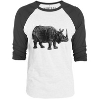 Mintage Indian Rhino 3/4-Sleeve Raglan Baseball T-Shirt (White / Concrete)