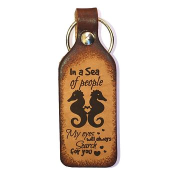 Seahorse Leather Keychain