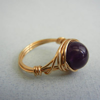 Amethyst Ring - Custom Size Ring by threestonebirds