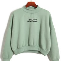 Cropped Sweatshirt with Embroidery