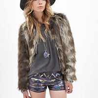 FOREVER 21 Geo Sequin Shorts Gold/Multi