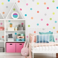"Dot Wall Decals, 4"" Candy Confetti Rainbow Polka Dot Decals, Nursery Wall Decals Eco Friendly Peel and Stick Fabric Dot Decals"