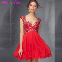 Sweetheart Crystal Open Back Sexy Red Homecoming Dresses
