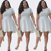 White Short Sleeve Casual Loose Dress