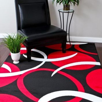 2062 Red Abstract Contemporary Area Rugs