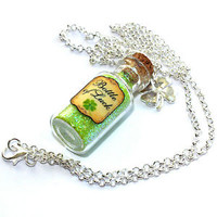 St. Patricks Day Bottle of Luck Necklace. Four Leaf Clover, Irish, Leprechaun.