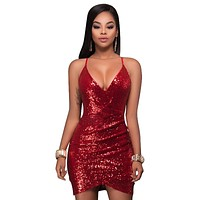 Deep v Sequin Sexy Dress Women Rose Gold Red Green Party Luxury Sundress Short Dress Summer Strap Mini Dress Vestidos Camis