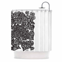 "Adriana De Leon ""Hidden Hearts"" Black White Shower Curtain"