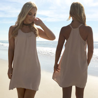 Felicity Sleeveless Shift Dress In Sand