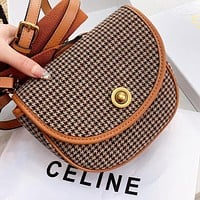Hipgirls CELINE  Fashion new canvas leather shopping leisure shoulder bag crossbody bag Brown
