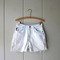 80s Denim Shorts BLEACHED Faded Blue White 1980s High Waist Jean Shorts Frayed Worn In Denim Womens Small Medium Waist 28