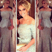 Real Image 2016 Gray Lace Women Long Formal Gown Madre Del Vestidos Mother Of The Bride Groom Dresses For Wedding Plus SIZE