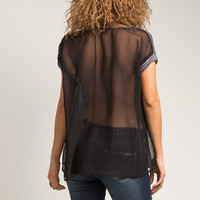 Mesh Sheer Back Rolled Sleeve Tee Top in Gray & Black