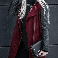 New Red Patchwork Pockets Zipper PU Leather Turndown Collar Long Sleeve Coat
