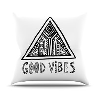 "Vasare Nar ""Good Vibes"" White Black Throw Pillow"